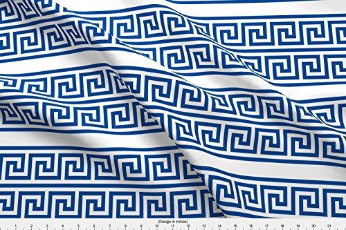 Spoonflower Greek Fabric Greek Key Double Row Border by Zephyrous Printed on Minky Fabric by the Yard