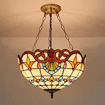 Chandelier Pendant Lights Fixture Tiffany Style Inverted Ceiling Victorian Hanging Lamp Ceiling Light Fixture For Living Room Dining Room Stained Glass Shade Amazon Co Uk Lighting