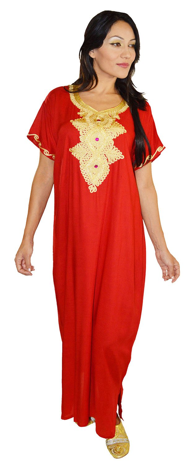 Moroccan Caftans Handmade Light Weight Cotton Hand Embroidery Andalusia Fits Small to Medium Red by Moroccan Caftans (Image #3)