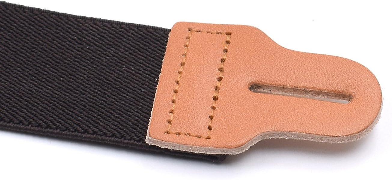 RIONA Bretelle Elastico E Regolabile con Vera Pelle Asole 3.5cm larghezza Con 6 Bottoni X Forma Bretelle
