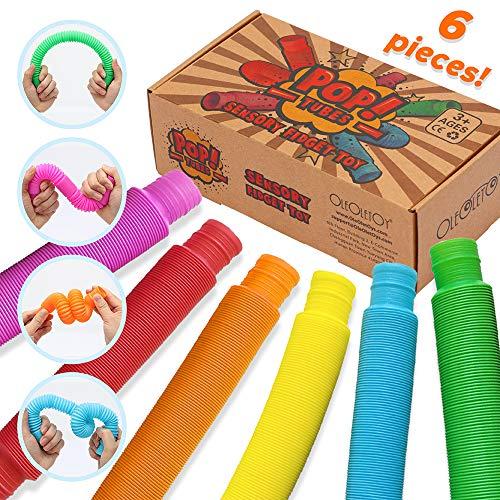 OleOletOy Pop Tubes Sensory Fidget Toy for Kids, Pull