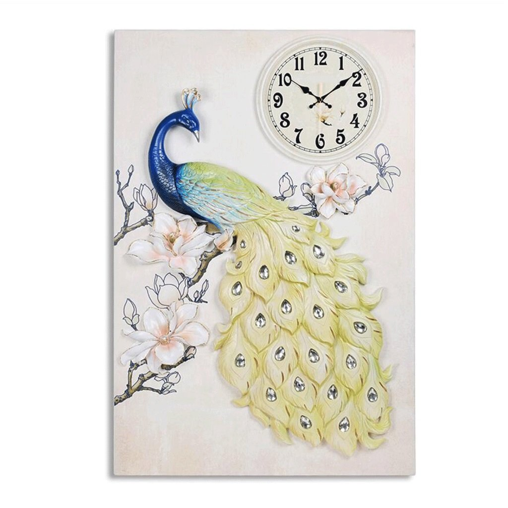 ピーコックリリーフウォールクロックリビングルームの装飾3次元の壁時計 GAODUZI (色 : A) B07FNLV8ZVA