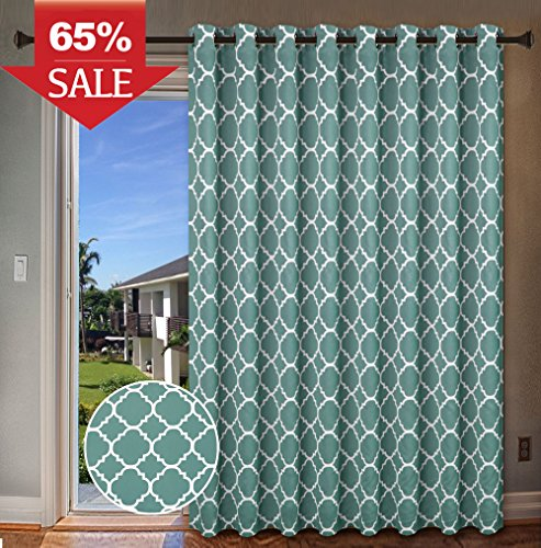 "H.Versailtex Energy Efficient Printed Blackout Curtain, Extra Wide Thermal Insulated Patio Panel - Grommet Large Size 100""W by 96""L Window Drapes - Teal, 1 Panel"