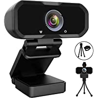 Webcam 1080p HD Computer Camera - Microphone Laptop USB PC Webcam with Privacy Shutter and Tripod Stand, 110 Degree Live…