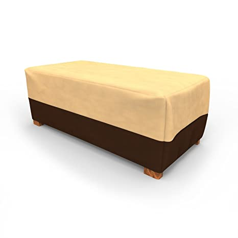 Budge All Seasons Slim Patio Ottoman Cover/Coffee Table Cover, Medium (Khaki
