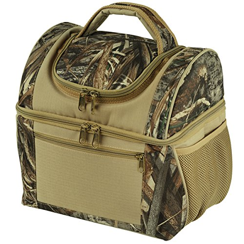 Large Dual Compartment Insulated Lunch Bag / Lunchbox / Cooler by Sacko Camo Lunchbag For Adults, Men, Women. Great for Work, Camping, Picnics, Hunting, etc.