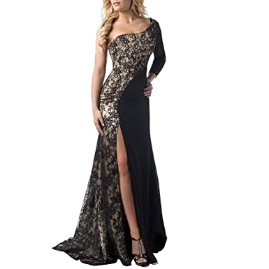 One Shoulder Lace Dress Party Dresses Sexy Long Sleeve Formal Ball Prom Gown Cocktail Dress Women
