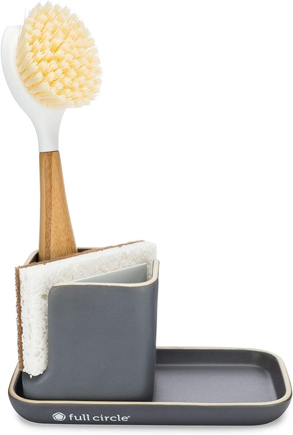 Full Circle Kitchen Sink Set - Ceramic Organizer with Be Good Dish Brush and In a Nutshell Scrubbing Sponges