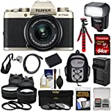 Fujifilm X-T100 Digital Camera & 15-45mm XC OIS PZ Lens (Champagne Gold) 64GB Card + Battery + Charger + Tripod + Flash + Backpack + 2 Lens Kit