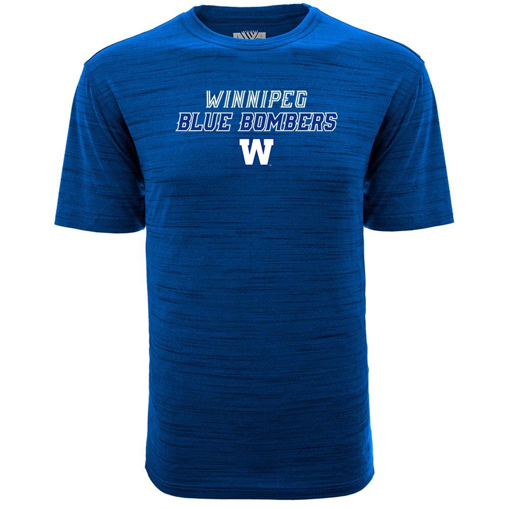 Levelwear 00HY50DS0054F05001UHEAROY3LRG Men's Winnipeg Bombers Anchor Slant Route Tee, Blue Large Accolade group inc.