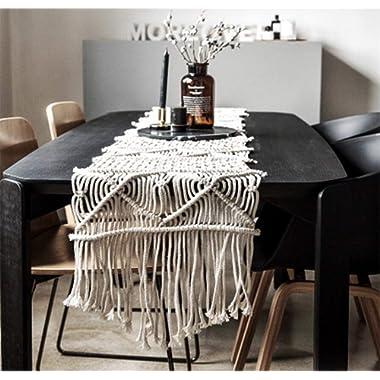 LEEVAN Handmade Macrame Table Runner Gorgeous Handwoven Wedding Table Decoration Wedding Table Runner with Long Tassels Bedroom Art Decor -15.7  W x 88.5  L