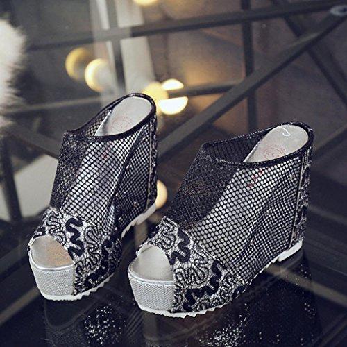 IGEMY Women Flip Flops Hollow Wedge High Heel Shoes Ladies Summer Sandals Black yX2B8F