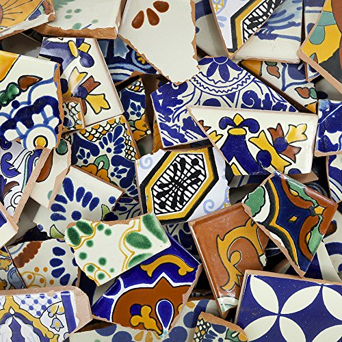 10 Pounds of Broken Talavera Mexican Ceramic Tile in Mixed Decorative Designs ()