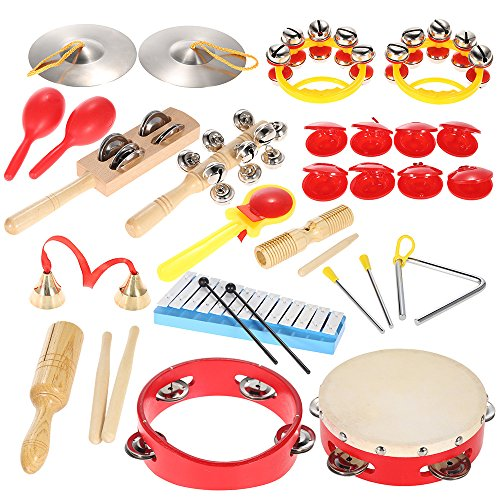 - ammoon Percussion Set Kids Children Toddlers Musical Toys Instruments Band Rhythm Kit with Carrying Bag
