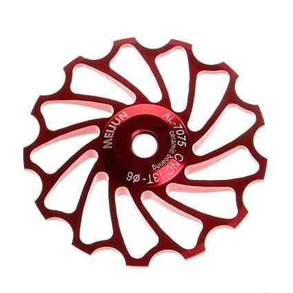 Vovotrade 13T MTB Cerámico Cojinete Jockey Rueda Polea La carretera Bicicleta Posterior Desviador (Rojo)