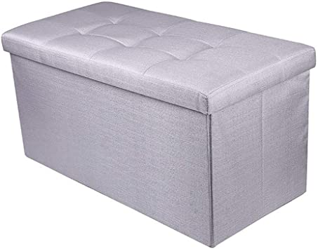 Marina Ottoman Storage Toy Box Seat Stool Bedding Laundry Grey Oak /& White