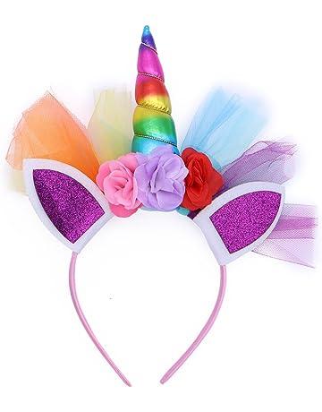 LUOEM Unicornio Rainbow cuerno diadema unicornio orejas diadema cumpleaños Colorido flor Hheadwear para niños adultos traje