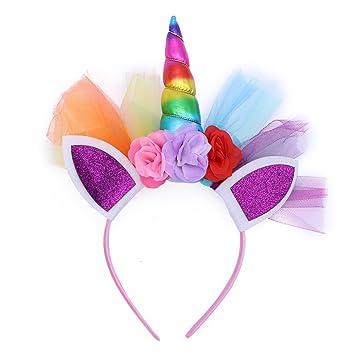 LUOEM Unicornio Rainbow cuerno diadema unicornio orejas diadema cumpleaños Colorido flor Hheadwear para niños adultos traje de cosplay, decoración del ...