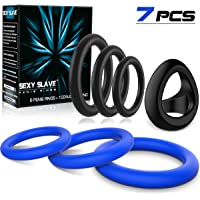 Silicone Cock Rings Set, Sexy Slave Stretchy Penis Rings for Longer & Harder Erection, Sex Toy for Men Couple(7pcs)