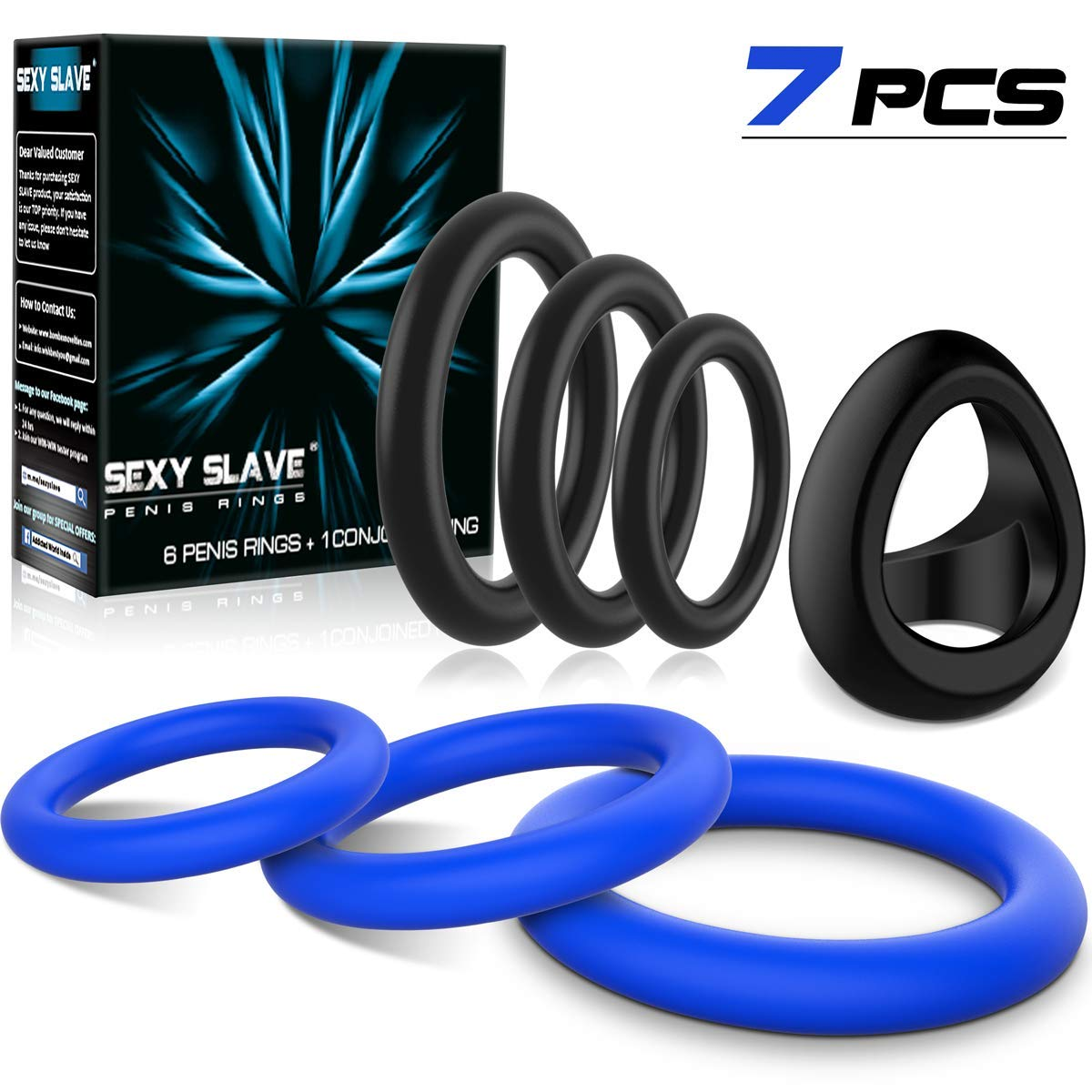 Silicone Cock Rings Set, Sexy Slave Stretchy Penis Rings for Longer & Harder Erection, Sex Toy for Men Couple(7pcs) by SEXY SLAVE