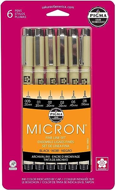 0.20mm Marker; Manga Black; Sakura 6 Pens Art 0.35mm 0.30mm 0.45mm 0.50mm Art Pens Drawing 0.25mm Sakura PIGMA MICRON Ink Pen Set
