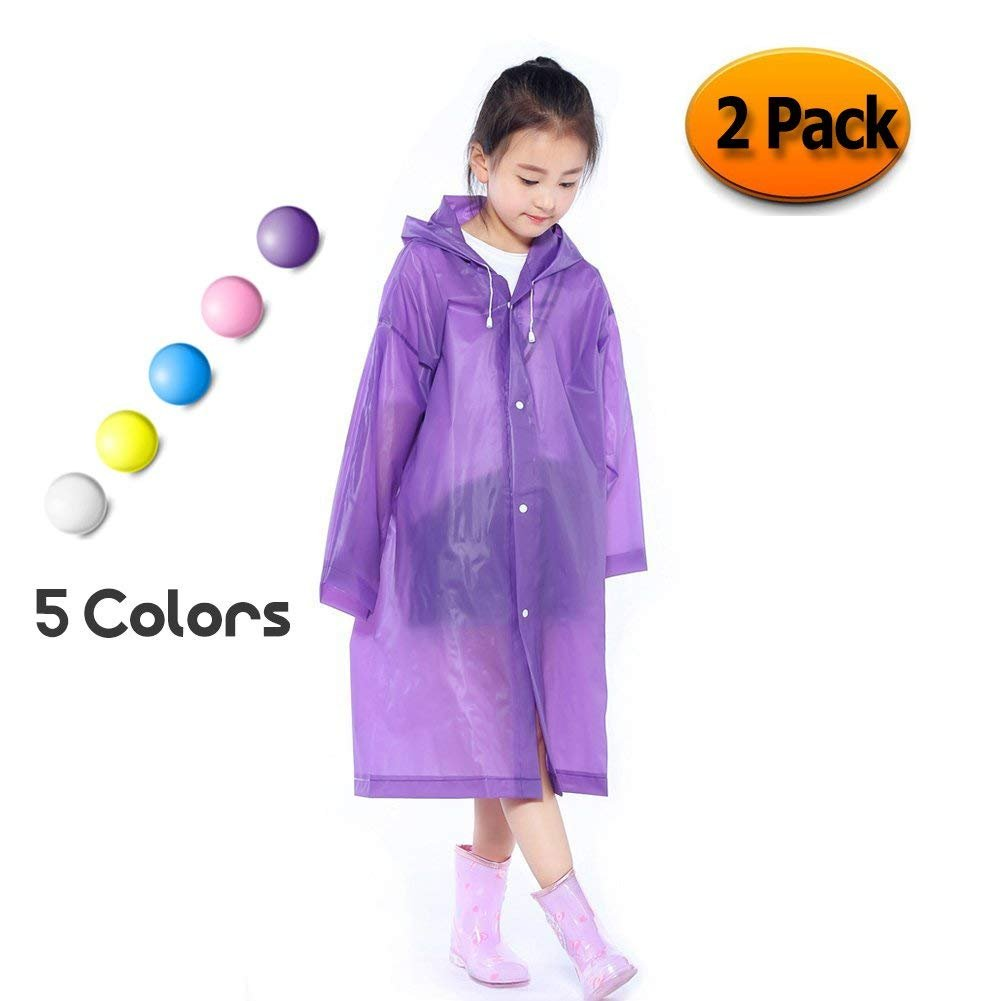 Segorts Kids' Emergency Portable Rain Ponchos(2 Pack) - Thicker EVA Rainwear with Drawstring Hood & Sleeve Ends for Travel Camping (Purple)