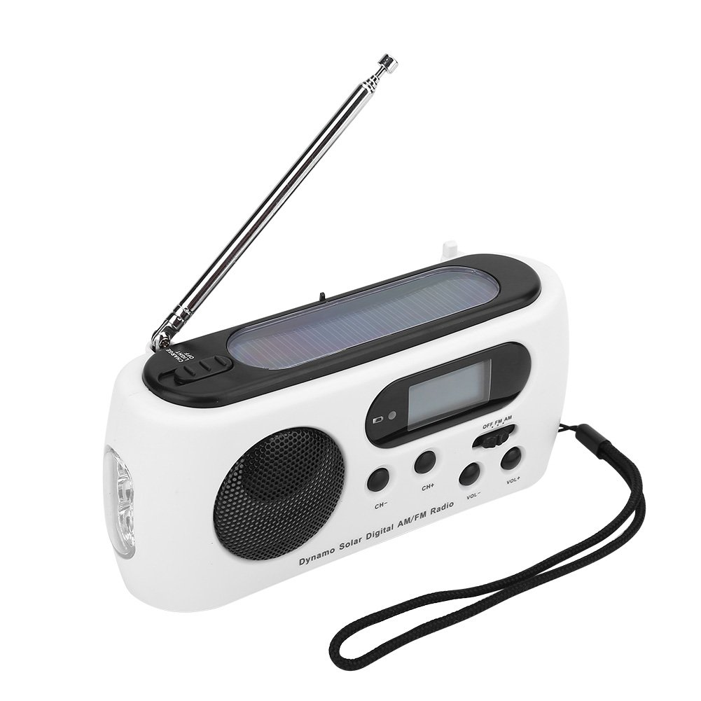 VGEBY Emergency Radios Solar Hand Crank AM/FM/SW Weather Radio,3 LED Flashlight and Reading Lamp, Cellphone Charger