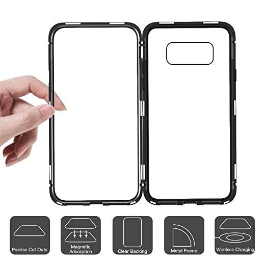 Voberry Magnetic Adsorption Metal Bumper Glass Case Cover for Samsung Galaxy S8 Plus 6.2inch (