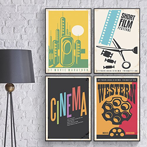 Retro Cinema Film School Wall Art for Teens Dorm/Room Decor. Set of FOUR Vintage Movie Marathon Posters for Western Lovers. Vintage Bar Signs Decor Perfect Holiday Gift for Him by (Halloween Movies To Watch At School)