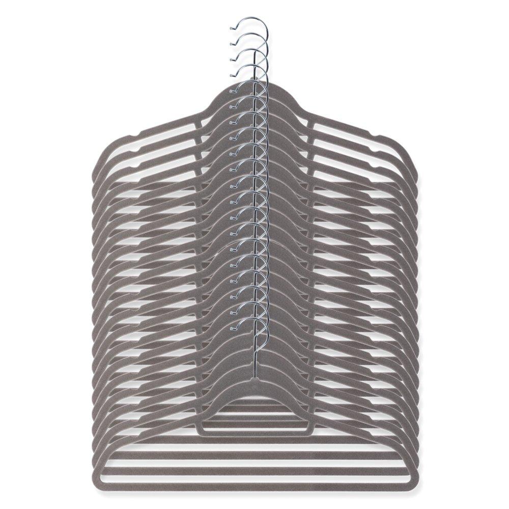 Schramm 20pezzi antiscivolo velluto appendiabiti grigio scivolano velluto per abiti pantaloni Camicie Tuta ruotabile di 360° gancio einkerbungen alla fine del buegels Confezione da pezzi
