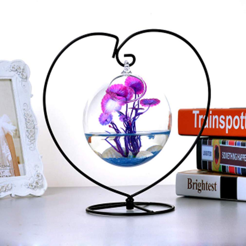 BKOOC Black Ornament Display Stand,Iron Hanging Heart Shaped Stand Rack Holder Iron Pothook Stand Hanging Glass Globe Air Plant Terrarium Witch Ball Home Wedding Decoration