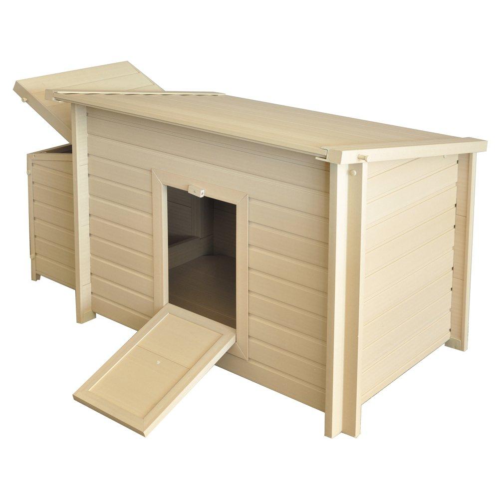 vadigran Fontana Polywood Hühnerstall für Henne beige/braun 134x 75x 73cm Größe L