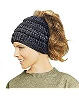 Lamdgbway Trendy Knit Hat Cable Beanie Stretch Chunky Winter Bun Ponytail Beanie