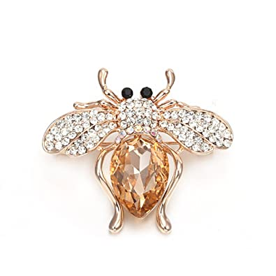 Brooches For Women,Cute Bee Brooch Pins For Girls Dazzling Rhinestone Brooch  For Brides Gold