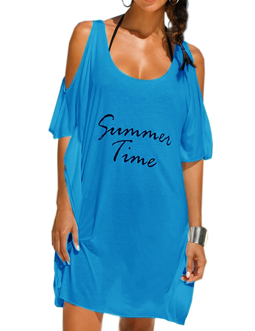 Sexyshine Women's Baggy Letters Print Beach Dress Summer Swimwear Bikini Cover-UPS WBC8822AB-SU