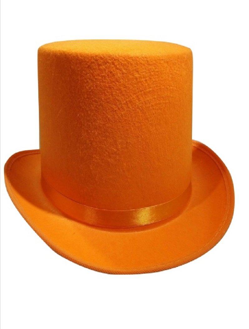Nicky Bigs Novelties Tall Deluxe Felt Top Hat, Orange, One Size