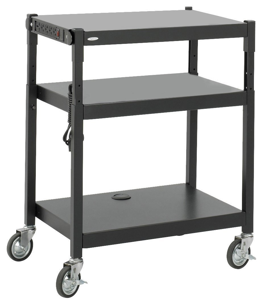 Safco Products 8932BL Steel Adjustable Height AV Cart, Black
