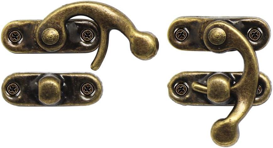 4stk Antik Box Holz Fall Haspe Haken Verriegeln Fang 38*29mm Bronze