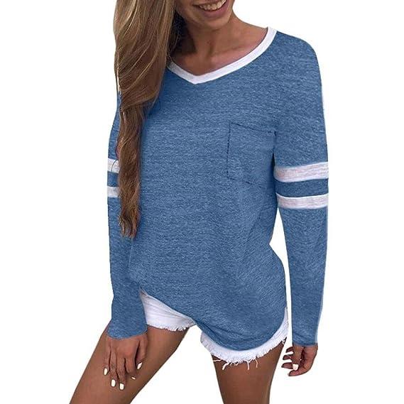 Blusas Mujer, ASHOP Casual Patchwork Cuello en V Sudaderas Moda Elegantes Ropa en Oferta Camisetas