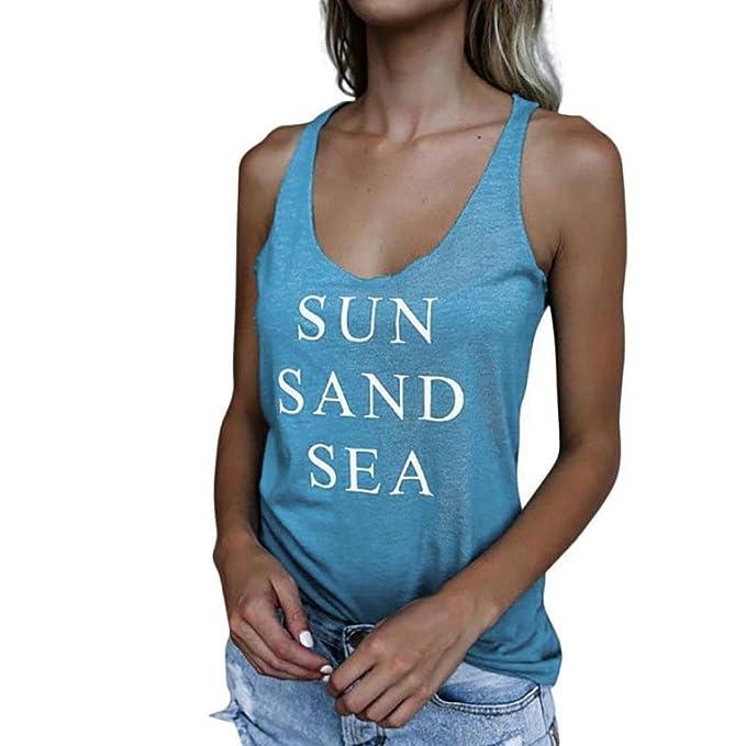 VENMO Camisetas Tops Mujer, Mujer,Blusas Mujer,Deportivas Mujer,Mujeres Camiseta sin