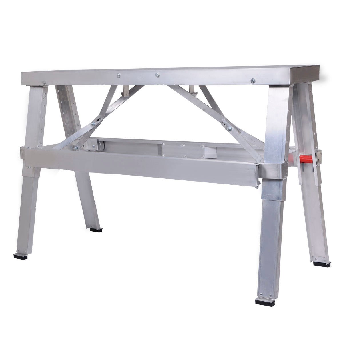 Goplus Adjustable Tool Professional Aluminum Drywall Bench Walk-Up 18''-30'' Folding Bench Heavy Duty by Goplus