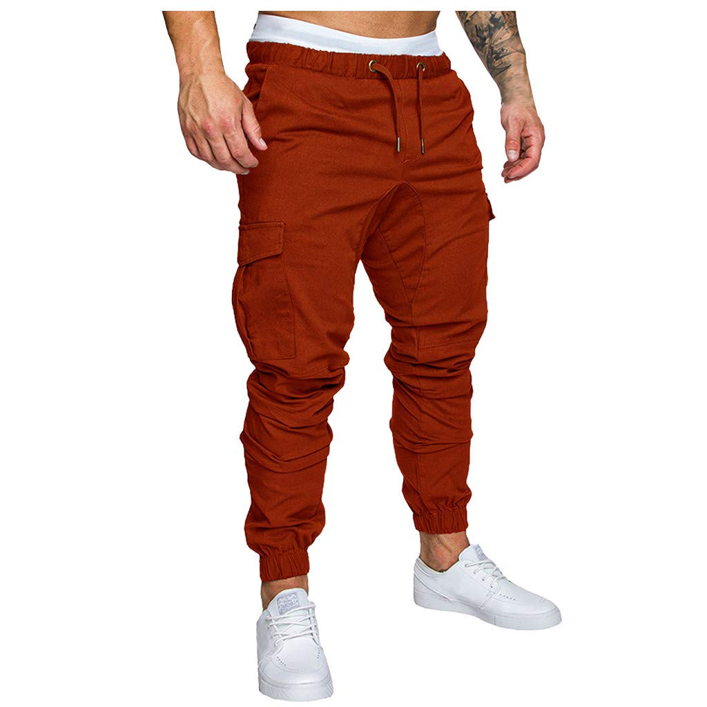 Mens Cargo Trousers Sweatpants Slim Fit Jeans Skinny Jogging Elasticated Waist Drawstring Chinos Pants Goosun Pockets Cargo Trousers Work Wear Tracksuit Bottoms M-4XL