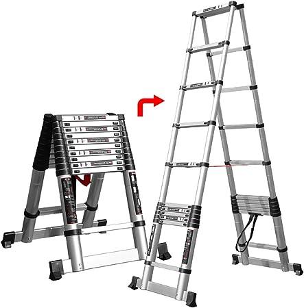 ALYR Multiusos Escalera Telescópica, Extensible Escalera Telescópica Escaleras de Mano Multiusos con estabilizador Capacidad de Carga 150kg / 330lb,3.8m/12.5ft: Amazon.es: Hogar