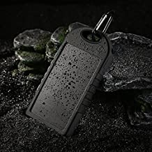Solar Charger - Faddist Solar Portable Phone Battery Charger 12000mah Portable Backup Power Bank Pack Water/ Shock/ Dust Resistant Dual USB Charger 5000mah Solar Battery Panel Dual USB Port Rain-resistant, Dirtproof and Shockproof Portable Charger Backup External Battery Pack Power Bank for Iphone 6, 6 Plus, 5s, 5c, 4s, 4, Ipod Touch, Ipad Mini,ipad 1,2,3,4,5,6,ipad Air Retina (8 Pin Adapter Included), Samsung Galaxy Note 2, Note 3, S2 S3, S4, S5,s6 ,S6 Edge, Nexus 4/5/7,moto X, Lg G2/3,sony Xperia Z1 Black and Other Usb-charged Devices. (Black)