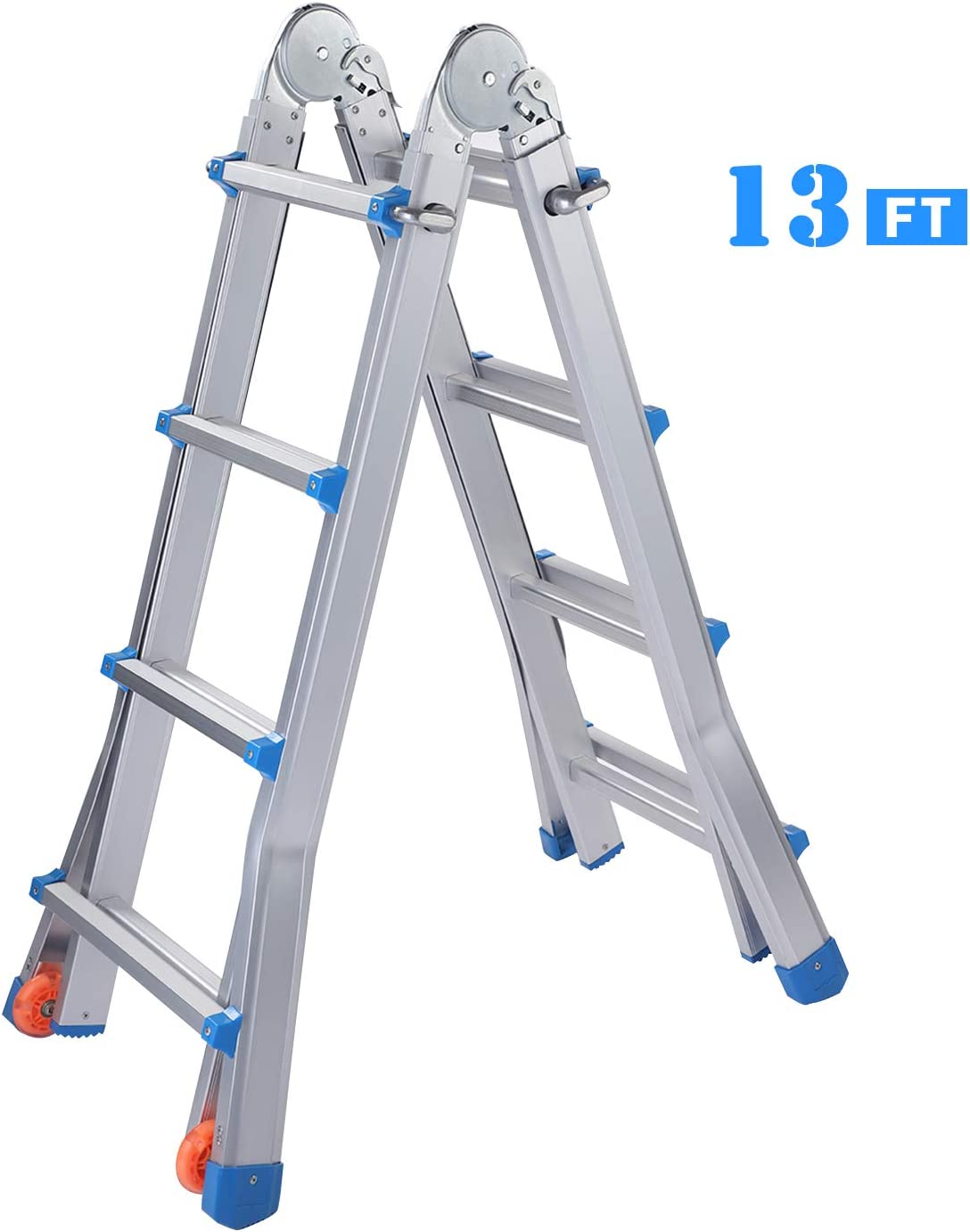 Snow Fox Extension Ladder 13 Feet Aluminum Extension Multi-Position Ladder Adjustable Telescoping Ladder with Protective Lock and 2 Wheels