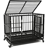 Large Heavy Duty Dog Cage, Large Dogs Crate with Two Prevent Escape Lock&Wheels, Strong Metal Dog Crate for Indoor…