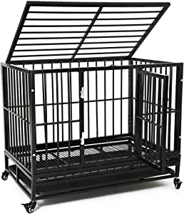 Large Heavy Duty Dog Cage, Large Dogs Crate with Two Prevent Escape Lock&Wheels, Strong Metal Dog Crate for Indoor&Outdoor,(92x62x75cm)