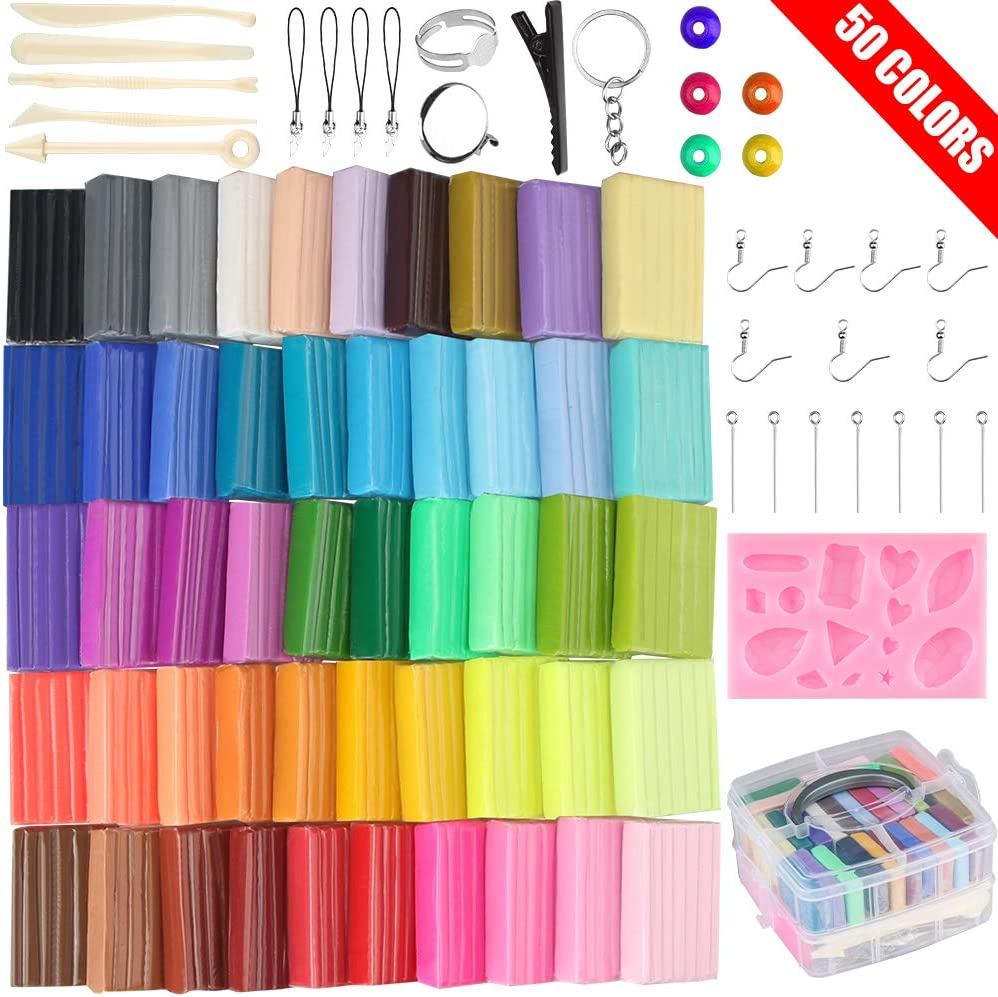 50 Colors Polymer Clay Set Oven Bake Clay, 2 Hardness Options, Tomorotec CPSC Conformed Non-Toxic Molding DIY Clay Air Dry Assorted Colorful Clay with Sculpting Tools for Kids,Artists (Softer)