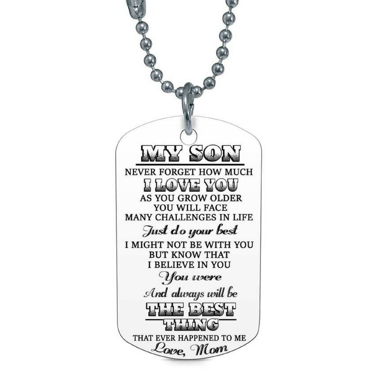 My Son Never Forget How Much I Love Mom Mommy Dog Tag Military Air Force Navy Coast Guard Necklace Ball Chain Gift for Best Son Birthday Graduation Stainless Steel by Stashix (Image #1)
