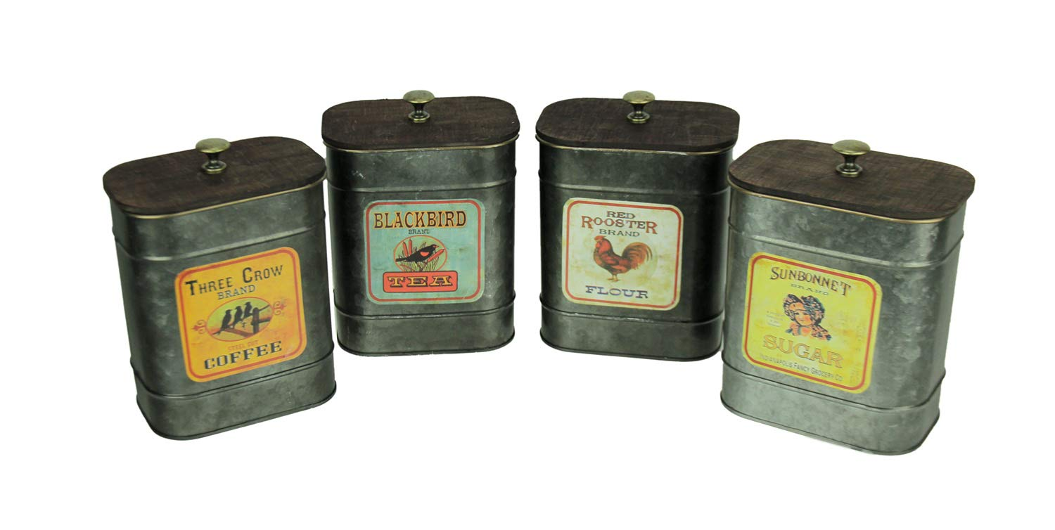 Gerson Rustic Galvanized Tin Vintage Label Kitchen Canisters 4 Piece Set